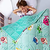 3 lbs Minky Dotted Weighted Blanket for Kids, Sivio Super Soft Crystal Velvet with Shark Cartoon Patterns, Reversible Heavy Blanket for 19-30 lbs Child, 36X48 Inch