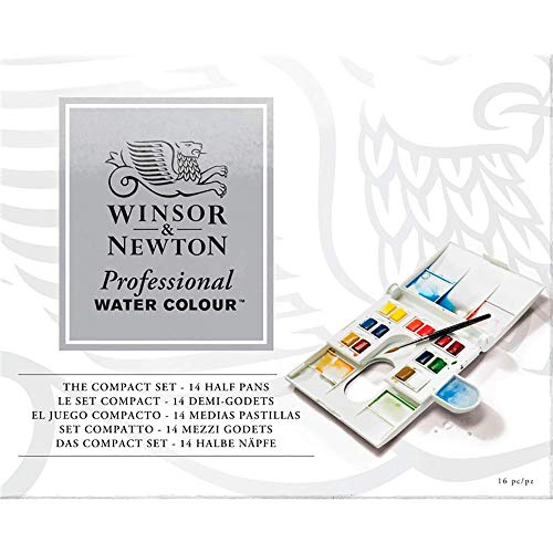 Winsor & Newton Professional Water Colour Compact Set, 14 Half Pans