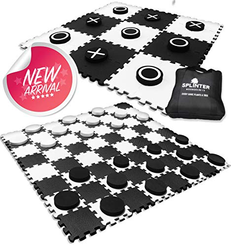 2-in-1 Reversible Giant Checkers & Tic Tac Toe Game ( 4ft x...