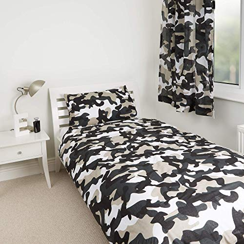 Grey Camo Camouflage Design Kids Boys Girls Bedroom Duvet Cover Bedding Range (54' Curtains)