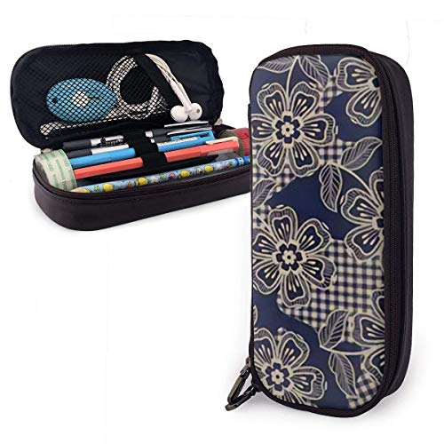 Lawenp Alta capacidad Eclectic Fabric Lattice Baroque PU Leather Pencil Case with Zipper,Large Capactiy Pouch Stationary Bag Storage Bag Makeup Bagfor Middle High School College Student Office Girls