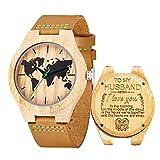 Reloj de Madera de Cuero, Relojes de brújula de bambú Hechos a Mano MUJUZE, Relojes de Pulsera para Hombre con Correa de Vaca marrón (To Husband)
