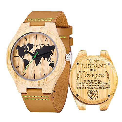 Reloj de Madera de Cuero, Relojes de brújula de bambú Hechos a Mano