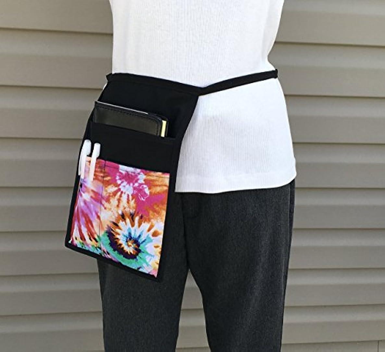 Black Hip Side Apron Tie-Dye money Pouch Waitress pockets, Restaurant Bars Cafes holds black book Janet's Aprons