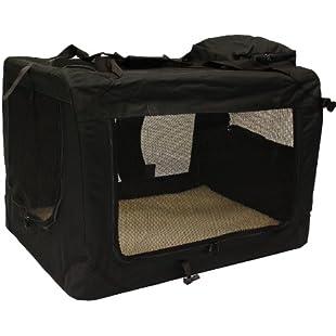 Customer reviews MOOL Lightweight Fabric Pet Carrier Crate with Fleece Mat and Food Bag - Large (70 x 52 x 52 cm), Black
