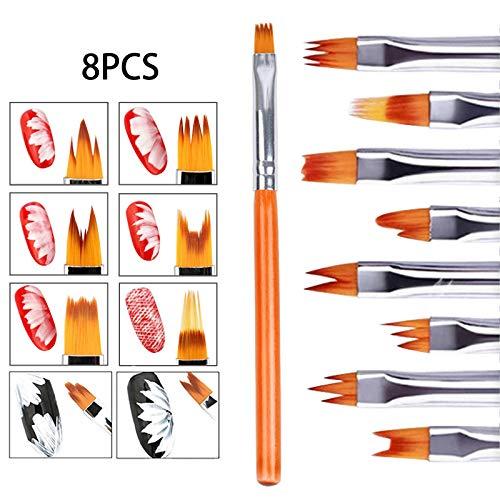 WZDTNL Kit de bolígrafos de uñas, pinceles de delineador de uñas, cepillo de uñas UV de gel para arte de uñas
