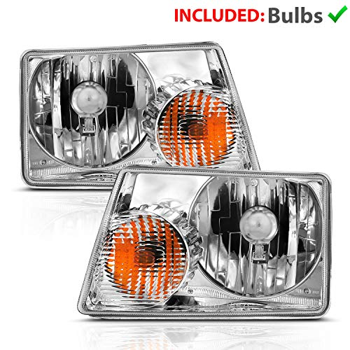 AmeriLite for 2001-2011 Ford Ranger Pickup Truck Chrome Factory Style OE Fitment Replacement Headlights Assembly w/o Corner Lamp Pair - Driver and Passenger Side