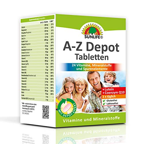 SUNLIFE A-Z Depot Tabletten mit Lutein u. Coenzym Q10: Nahrungsergänzungsmittel für die Rundumversorgung, 100 Stk.