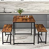 BAHOM 3 PCS Dining Table Set with 2 Benches 55 inch Wooden Kitchen Table for Home, Kitchen, Dining Room, Small Space (Retro)