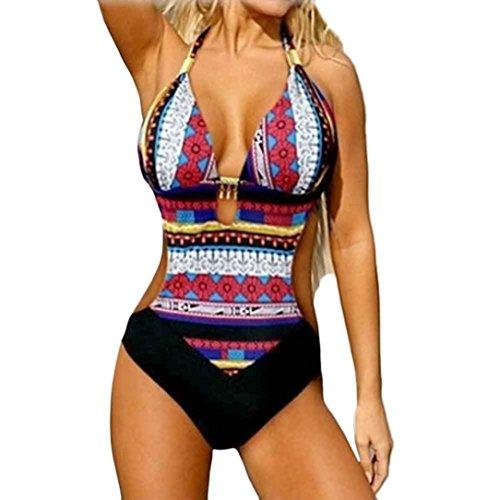 PAOLIAN Trajes de una Pieza Bikini Enteros Sexy Mujer Verano 2018 Ropa de Playa Bañador Impreso Viento naciona Cuello Colgante Espalda Nadador Heuco Camisolas y Pareos Cintura Alta (XL, Negro)