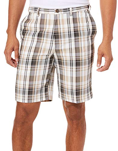 Haggar Men's Cool 18 Pro Straight Fit Flat Front Expandable Waist Patterned Short with Big & Tall Sizes, Putty Madras, 44