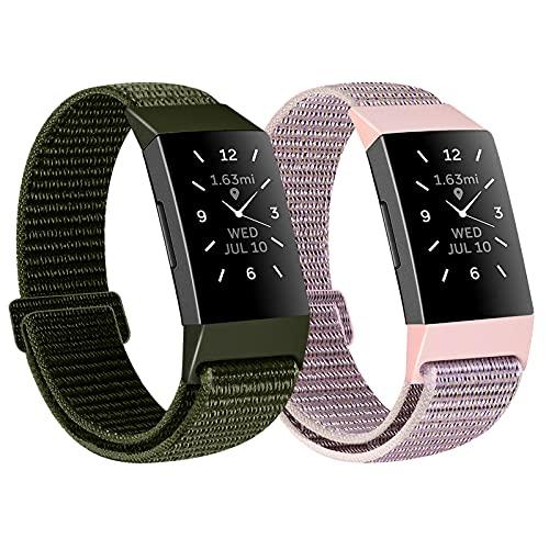 KIBDSNG Correa de nailon de Woven compatible con Fitbit Charge 4, Fitbit Charge 3, Charge 3 SE, correa de repuesto ajustable, compatible con Charge 4 y Charge 3., Nailon.,