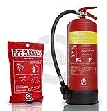 FSS UK Premium 6litros espuma extintor con manta de fuego. BSI?Protector de Manta ignífuga de extintor y con certificado CE. Ideal para casas KITCHEN lugar oficinas talleres almacenes garajes hoteles restaurantes