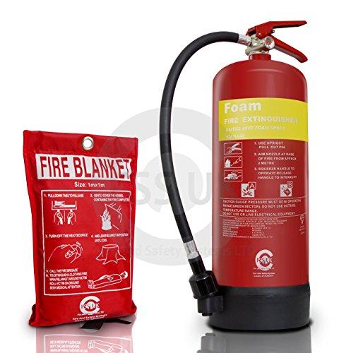 Premium Fss UK 6litro di schiuma estintore con fuoco coperta. BSI Kitemark estintore e marchio CE Fire coperta. Ideale per uffici cucina lavoro officine magazzini garage hotel ristoranti