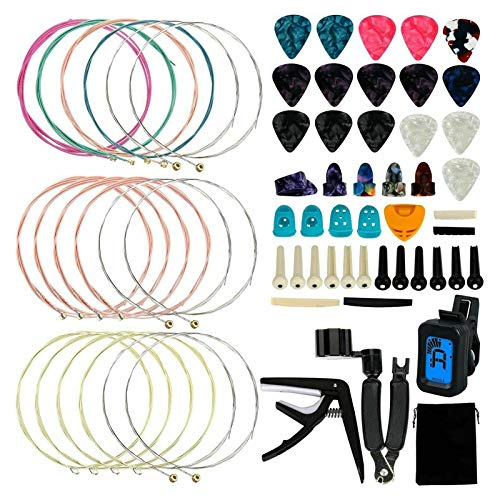 65 peças de acessórios de substituição de ferramentas de guitarra Staright kit kit de afinador de cordas de guitarra