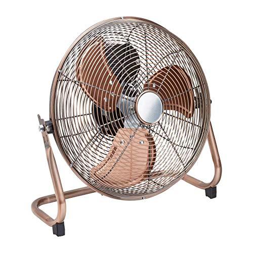Retro Metall Ventilator / 3 Rotorblätter für optimale Luftzirkulation / 3 Luftstromgeschwindigkeiten/Ø: ca. 30 cm (Kupfer)
