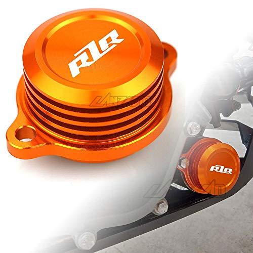 RONGLINGXING Powersports Onderdelen Orange Motorcycle Motor Stator Brandstoffilter Kapje CNC Aluminium Accessoire for KTM Duke 250 390 2017 2018 2019 (Color : RZR Logo)
