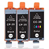 B-T CP-35 CP-36 Compatibile Cartuccia d'inchiostro Sostituzione per Canon PGI-35 CLI-36 PGI35BK CLI36C 2 Nero 1 Colore Cartuccia della Stampante Compatibile con Canon Pixma IP100 IP110, 3 Pezzi