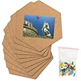ZSYLOVE 10 Stück von sehr dicken Hexagonal Cork Collage Brett Mini Wandverkleidung Bulletin Board mit vollständiger Adhesive (Color : Brown)