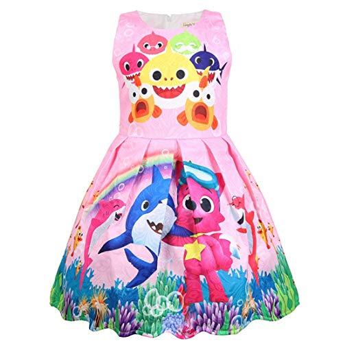 Vestido sin Mangas con Estampado 3D de Verano para niños pequeños de Shark Baby (rosado2, 100 (2-3 años))