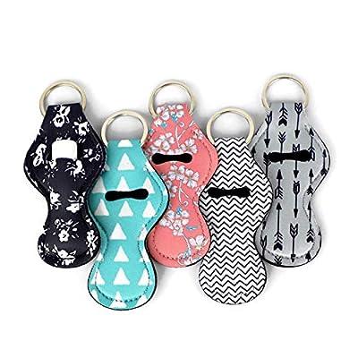 ZARIO Cool Chapstick Holder Lanyard Keychain (5 Pack) Neoprene Chapstick Holder Keychain to Match Neck and Wrist Lanyard from ZARIO