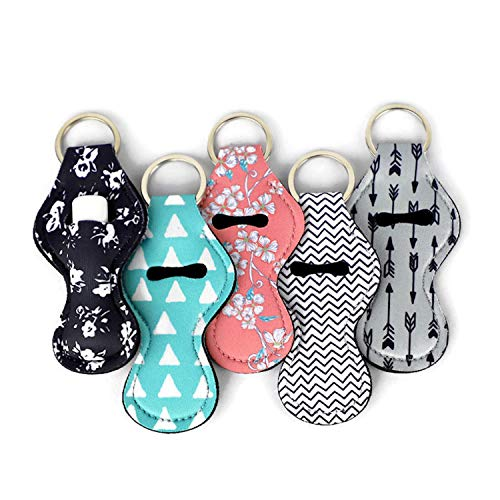 ZARIO Cool Chapstick Holder Lanyard Keychain (5 Pack) Neoprene Chapstick Holder Keychain to Match Neck and Wrist Lanyard