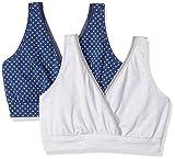 Playtex Women's Nursing Pullover Sleep Bra 2-Pack, in The Navy Dot Print/Silver Heather Print, Medium