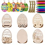 Anditoy 30 PCS Easter Wooden Hanging Ornaments Unfinished Wood Slices Eggs Easter Crafts for Kids DIY Easter Decorations Party Supplies Decor (Toy)