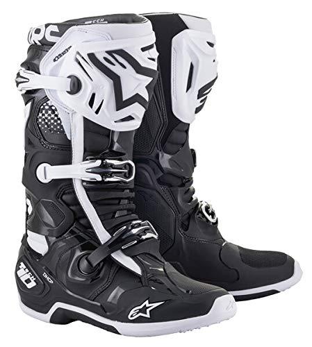 Alpinestars Tech 10 Unisex-Erwachsene Stiefel, Schwarz/Weiß, Größe 45 (Mehrfarbig, Einheitsgröße)
