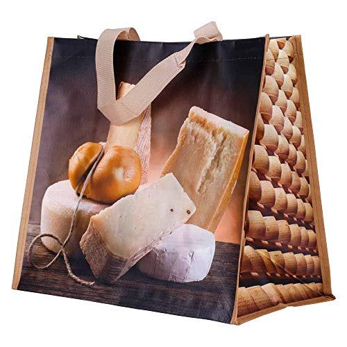 Braspack 10x Permanent-Tragetaschen, Motiv Käse, 180 g/qm, 390 x 210 x 340 mm