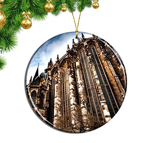 Hqiyaols Ornament Deutschland Aachener Dom Weihnachten Ornamente Hängende Verzierung Keramik Souvenir Stadt Reise Geschenk Baum Tür Fenster Decke Zierschmuck Deko
