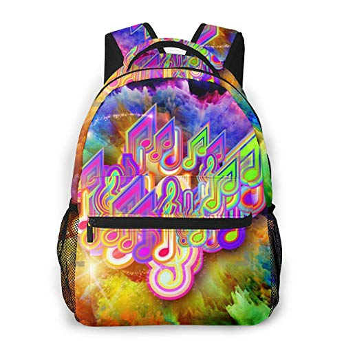 Lawenp Fashion Unisex Backpack Galaxy Music Notes Colorful Bookbag Lightweight Laptop Bag for School Travel Outdoor Camping