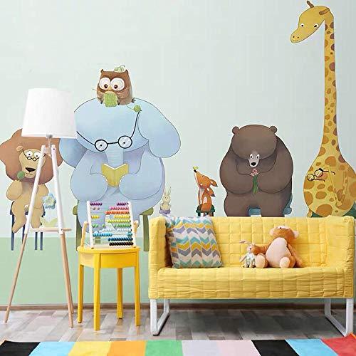 Lindo Dibujos Animados Jirafa Animales Amigos 3d Póster Mural No Tejida Habitación De Los Niños 3d Mural De Dibujos Animados-140X100cm