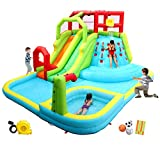 WELLFUNTIME Inflatable Water Slide Park with Splash Pool Climb The Wall, 3 Inflatable Sport Balls and 4 Water Guns, Water Slide with Air Blower