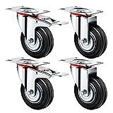Ruedas de Transporte de transporte Ruedas cargas pesadas rollos de muebles (2 x Ø 125mm Ruedas 2 x ruedas Ø 125mm ricino con frenos, 100 kg por rollo)