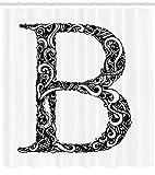 /N Letra B Cortina de Ducha Resumen Remolinos Diseño Imprimir para baño
