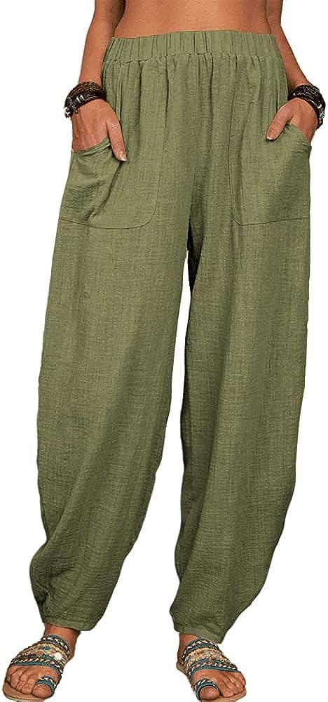 Grlasen Women Fashion Solid Loose Harem Pants Capri Pants Casual Linen Long Pants