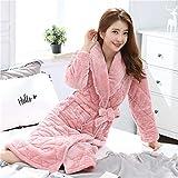 Conjuntos de Pijamas para Mujer, Bata de Franela de Invierno para Mujer, Bata de Manga Larga con Cuello Vuelto, Albornoz Suave y cómodo para Mujer XXL