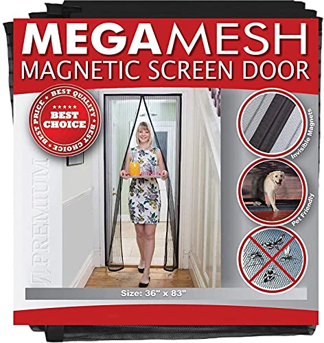 Magnetic screen door reinforced heavy duty mesh & full frame velcro fits doors up to 36x83 megamesh comes with a 12 month warranty