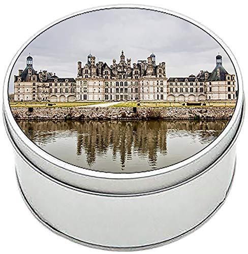 MasTazas Castillo de Chambord Francia Castle of France Boîte Métallique Ronde en Fer-Blanc Round Metal Tin Box