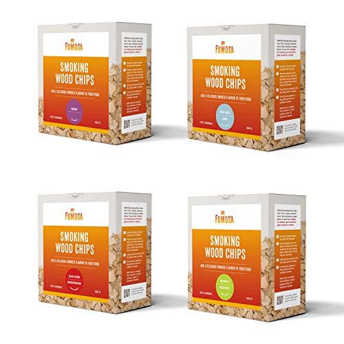 FUMOSA Räucherchips Set, 4 Sorten je 500g | Apfel, Kirsche, Ahorn, Hickory