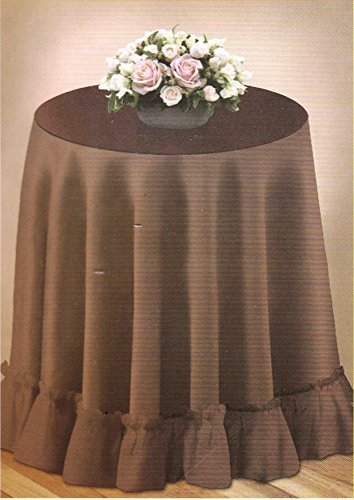 70' Round Decorator Tablecloth Fashion Solid Color Selection Woven Table Linen Ruffled Edge (Brown)