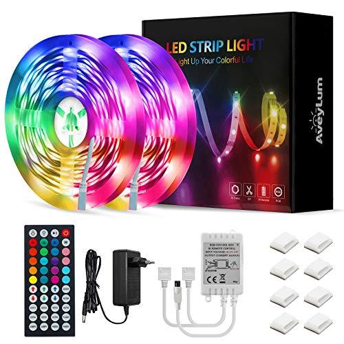 Tira de Luces LED RGB de 15 m (2 x 7,5 m), con mando a distancia por infrarrojos de 44 teclas, 5050 SMD fuente de alimentación de 12V3 A, para decoración del hogar, la cocina o fiestas