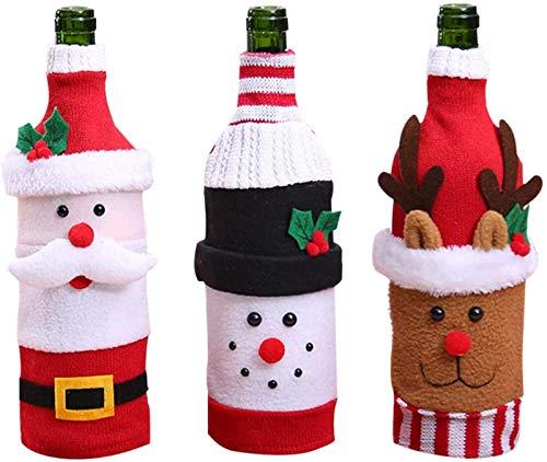 FEE-ZC Bolsas para Botellas de Vino, 3 Piezas de Tejido navideño de Papá Noel, Bolsas para Botellas de Vino navideñas, Funda Decoraciones navideñas, suéter, Decoraciones para Fiestas, Regalos