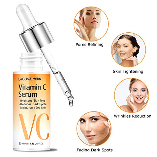51oHp5IT7bL - Vitamin C Serum for Face - Facial Serum with Hyaluronic Acid & Amino Acid, Anti-Aging Serum, Increase Skin Hydration & Reduce Fine Lines & Wrinkles Lagunamoon- 1.4 Oz Dropper Bottle