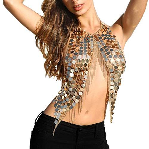 JZTRADING Körperkette Körper Schmuck Pailletten Mode Quaste Glanz Einstellbar Sexy Halskette Gliederkette Für Damen Mädchen Bikini BH Outfit Bar Party Zubehör (Gold)