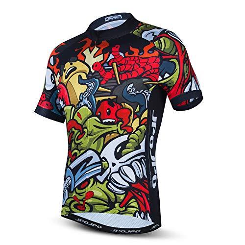 Weimostar Uomo Ciclismo Maglie Quick dry Traspirante e Confortevole Bike Top Escursionismo Biking Abbigliamento Fresco Personalità Rosso M