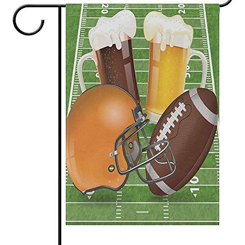 Tuinvlaggen Vallen en Voetbal Huis Yard Vlag 32X45.7CM,Amerikaanse Voetbal Helm Field Bril van Bier Grappige Sport Voetbal Bal Tweezijdig Huis Yard Outdoor vlaggen Banner voor Voetbal Party Favor