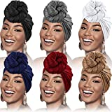 6 Pieces Head Wrap Scarf Turban Long Hair Scarf Wrap Soft Stretch Headwrap Solid Color Turban Tie Headband for Women Girls Favors (Black, White, Gray, Blue, Red, Light Brown)