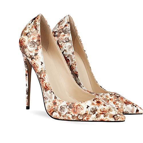 Stilett-Absatz-Frauen-Spitze Zehe Sexy Stiletto Pumps Partei Pumps Kleid,Apricot,39